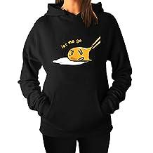 Activewear Women's Japan Gudetama Lazy Egg Drawstring Hooded Sweater Black