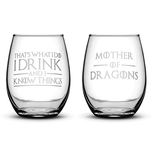 Cheap Premium Game of Thrones Wine Glasses, Set of 2, Thats What I Do I Drink and I Know Things, Mother of Dragons, Hand Etched 14.2oz Stemless Gifts, Made in USA, Sand Carved by Integrity Bottles
