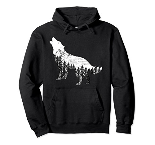 Unisex Howling Wolf HOODIE Silhouette with Mountains Art XL: Black (Silhouette Hoodie Mens)