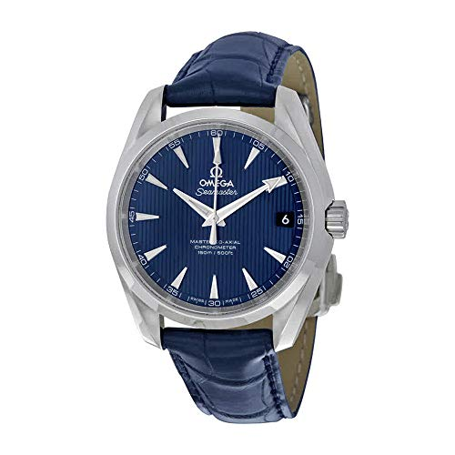 Omega Men's 'Seamaster150' Swiss Automatic Stainless Steel and Leather Dress Watch, Color:Blue (Model: 23113392103001)