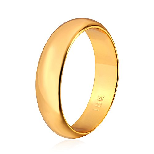 U7 Men Women 18K Gold Plated/Platinum/Black Gun/Rose Gold Plated Polished Classic Plain Wedding Ring ,4 Colors, Size 5 to 12,3mm-8mm Wide