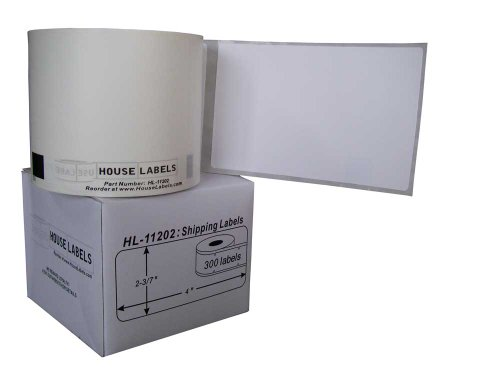 Houselabels 2-3/7 x 4 Inches Brother-Compatible DK-1202 Shipping Labels, 1 Roll, 300 Labels per Roll