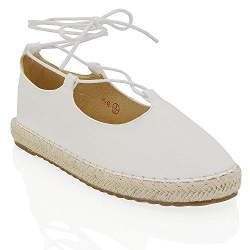 Essex Glam Dames Espadrilles Veter Gesloten Enkellaarsjes Sandalen Wit Synthetisch Leer