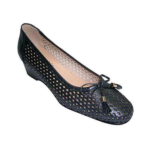 Roldan Zapato Mujer Tipo Manoletinas Calada con Cuña y Adorno Lazo Roldán EN Azul Marino