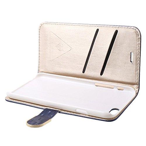 Étui de protection élégant étui Apple iPhone 6/6S Designer Case Bleu decui Bleu Étui de protection en cuir PU