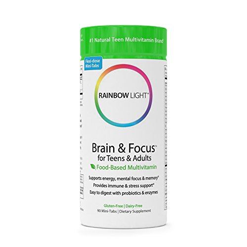 Rainbow Light - Brain and Focus for Teens and Adults - Food-based Multivitamin Supplement, Mind and Focus Enhancer; Supports Brain Nutrition and Health, Memory, and Energy - 90 Mini-Tablets