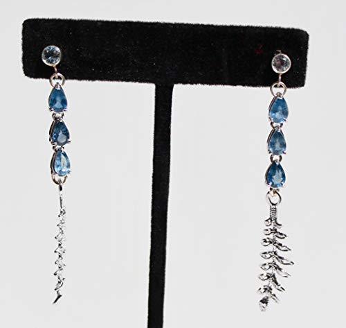 (Light blue sapphire earrings in Sterling silver earrings with vintage fern motif )