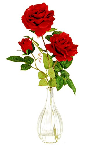 LCG Florals 15W39 Roses In A Ribbed Glass Vase with Faux Water, 20