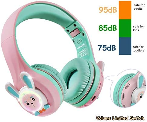 Riwbox RB-7S Rabbit Kids Headphones Wireless, LED Light Up Bluetooth Over Ear Headset Volume Limited Safe 75dB/85dB/95dB with Mic and TF-Card, Children Headphones for Girls Boys (Pink&Green)