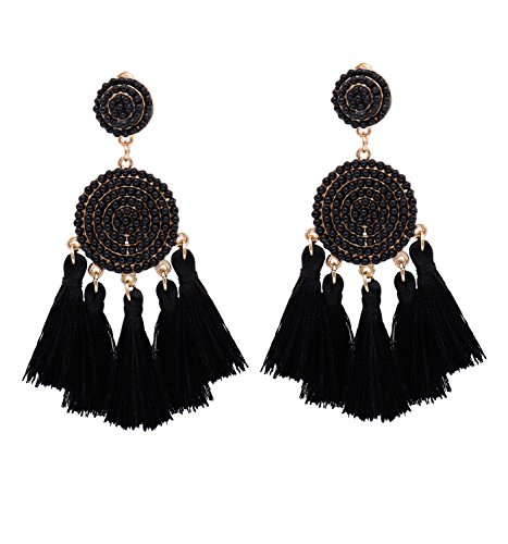 XOCARTIGE Tassel Dangle Earrings for Women Beaded Thread Fringe Drop Earrings Boho Statement Stud Earring for Girls (Black) Body Jewelry Black Chandelier Earrings