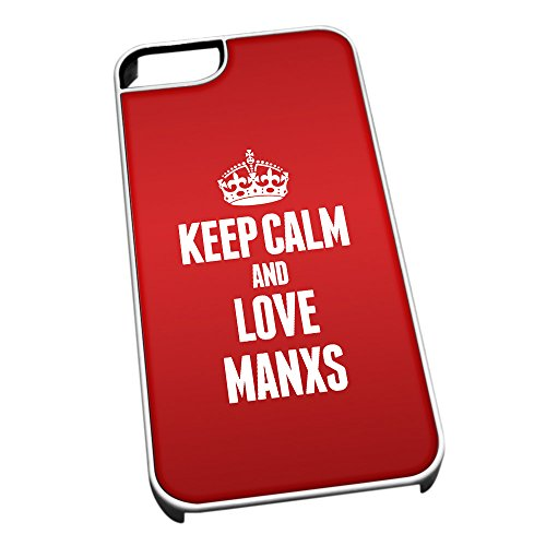 Bianco cover per iPhone 5/5S 2114Red Keep Calm and Love Manxs
