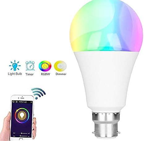 Bombilla LED inteligente, WiFi Smart Bombillas Regulables Color Cambiador Smartphone Controlado Luz de día Blanco