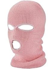 FAYKE® - kominiarka, różowa/różowa, dzianina, wielofunkcyjna, oddychająca, przyjazna dla skóry, kominiarka, kominiarka narciarska dla kobiet i mężczyzn, unisex, wysoka elastyczność, odporna na odkształcenia, odporna na działanie światła, maska z 3 otworami