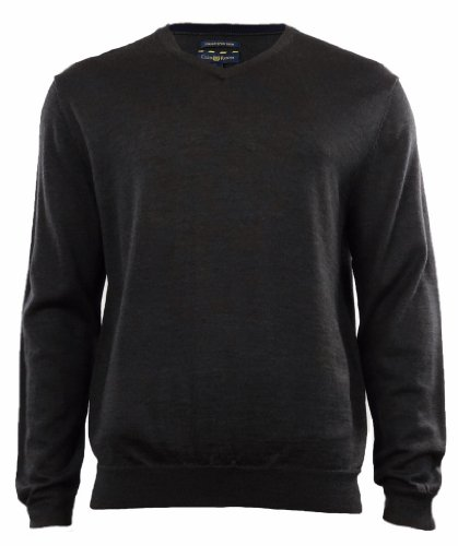 Club Room Men's Merino Wool Blend V-Neck Sweater (L, Ebony Heather) ()