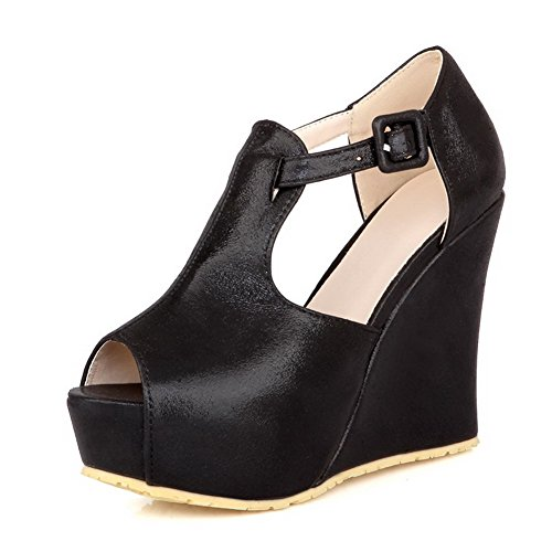 VogueZone009 Womens Open Peep Toe High Heel Platform Wedge PU Soft Material Solid Sandals with Buckle Black 0xsCRq4ME