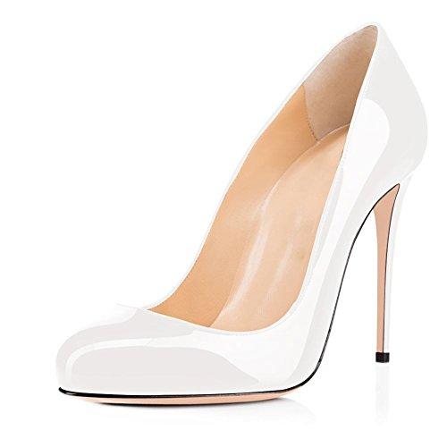 Joogo Round Toe Party Stilettos Slip On High Heels 4.7 inches Thin Heel Classics Pumps White Size 8