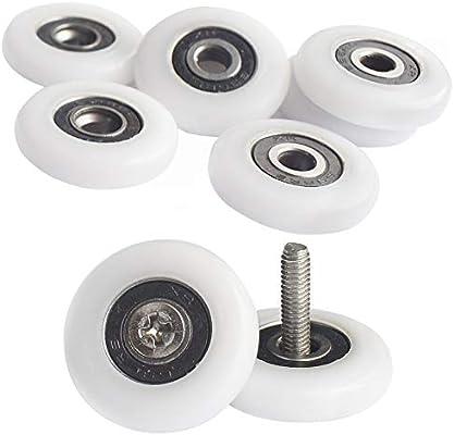 YUANQIAN - Poleas de ducha para puerta de ducha, 19 mm, ruedas de mampara de ducha, 8 unidades, con tornillos: Amazon.es: Bricolaje y herramientas