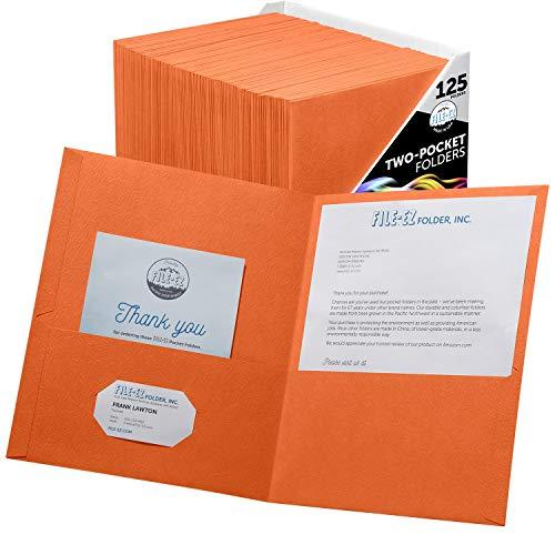 FILE-EZ Two-Pocket Folders, Orange, 125-Pack, Textured Paper, Letter Size -