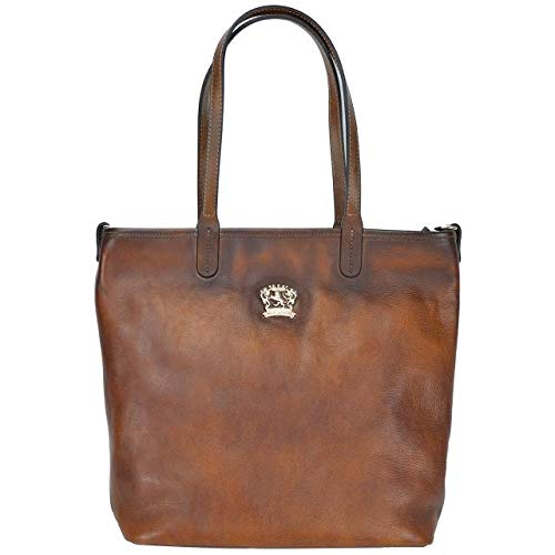 Pratesi Italian Leather Monterchi Womens Shoulder Tote Bag Large Handbag in cow leather Bruce Collection, Brown