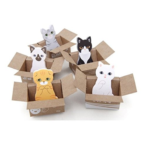 Chris.W Cute Cartoon Cats Self-Stick Mini Bookmarks/Sticky Notes/Post Tabs/Page Markers/Indexing Flags, Pack of 5 in 5 Different Designs