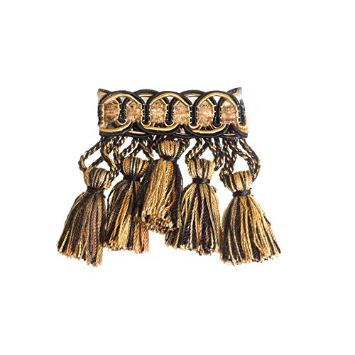 Calico Black Taupe Tan Bronze Gold Tassel Onion Ball Fringe Trimmings Upholstery Fabric by the yard