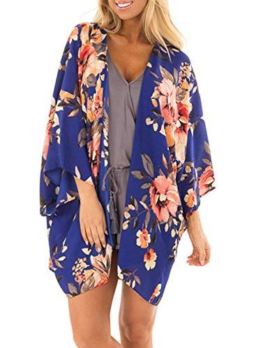 Chunoy Women Casual Floral Print Kimono Shawl Sheer Chiffon Loose Cardigan Blue Large