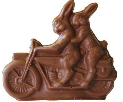 Motorcycle Riding Chocolate Easter Bunnies