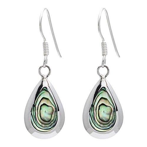 Silverly Women's .925 Sterling Silver Teardrop Abalone Paua Shell Dangle Earrings
