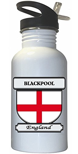 Blackpool, England City White Stainless Steel Water Bottle Straw Top