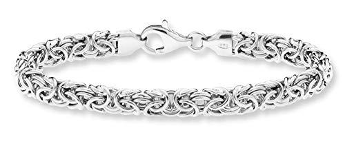 Chunky Link Bracelet (MiaBella 925 Sterling Silver Italian Byzantine Link Chain Bracelet for Women, 7.25