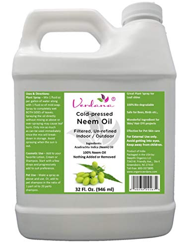 Verdana Cold Pressed Neem Oil 32 Fl. Oz - Unrefined, Double Micro-Filtered - 100% Neem Oil, Nothing Added or Removed - Indoor/Outdoor Leaf-Shine Plant Spray, Pet Care, Skin Care, Hair Care