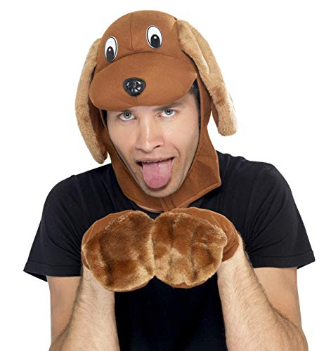 Smiffys Men's Dog Costume, Dog Hood & Gloves, Brown, One Size, 22144 ()