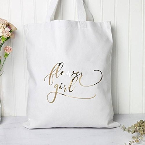 Flower Girl Metallic Gold Tote Bag