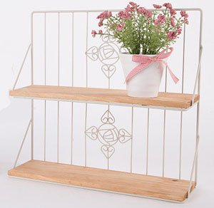 Country Rustic 2 Tier Wall Mounted White Metal Display Shelves with Wood Panels by KeKaBox (Image #1)