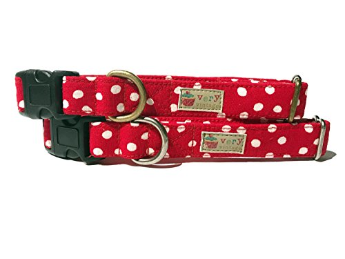 Very Vintage Design Lucy Dog Cat Collar Red White Hipster Polka Dot Collection Organic Cotton Personalized Adjustable Pet Bandana