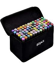 TongfuShop Zestaw 80 kolorowych pisaków Graffiti z olejnymi kolorami Mark, Twin Tip, markery graffiti do szkicowania, zestaw markerów z