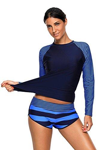 Actloe Women's Striped Long Sleeve Rashguard Two Pieces Tankini Swimsuits Navy Stripe ()