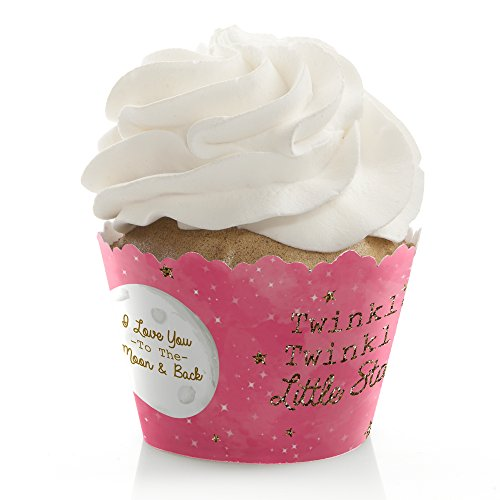 - Pink Twinkle Twinkle Little Star - Baby Shower or Birthday Party Cupcake Wrappers - Set of 12