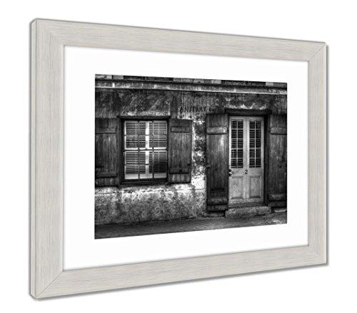Ashley Framed Prints French Quarter House, Wall Art Home Decoration, Black/White, 30x35 (frame size), Silver Frame, AG5624524