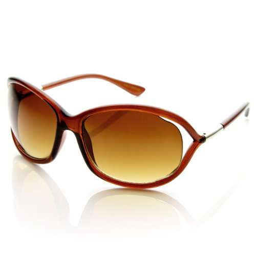 Womens Fashion Oversized Cut Out Temple Sunglasses (Brown) ()