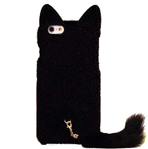 Fluffy Cat - iPhone 6 Case,DELELE Fashion Cute 3D Cat Shaped Ear Fluffy Plush Fur Soft TPU Case with Soft Tail for iPhone 6 6G 4.7 inch (Black)