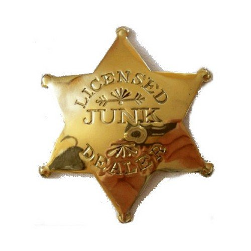 Licensed Junk Dealer Western Replica Badge - Brass