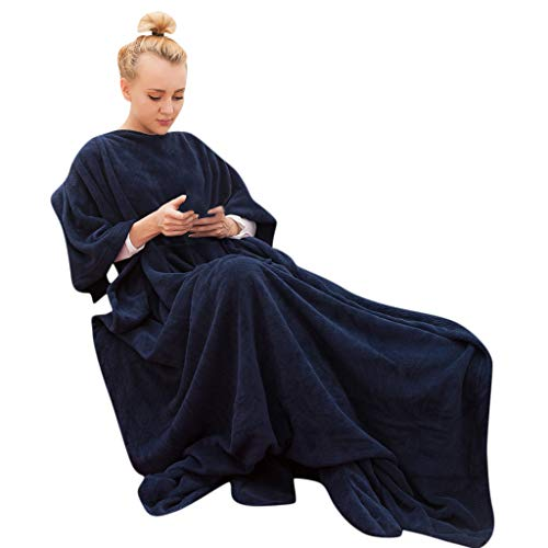 Gallity Wearable Blanket with Pocket Comfy Plush Throw Blanket Wrap Robe for Couch Bed Car -