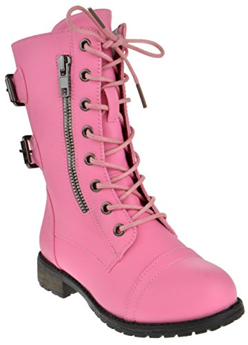Girls Pink Boots (Mango 61K Little Kids Combat Lace Up Boots Pink 4)