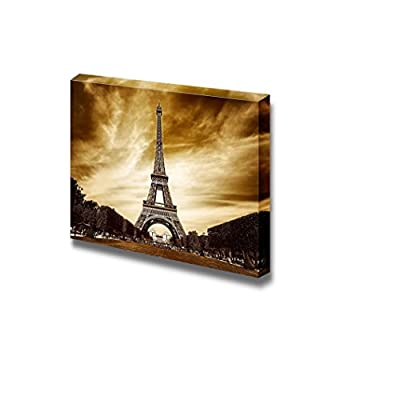 Canvas Prints Wall Art - Eiffel Tower in Paris Retro/Vintage Style | Modern Wall Decor/Home Art Stretched Gallery Canvas Wraps Giclee Print & Ready to Hang - 12
