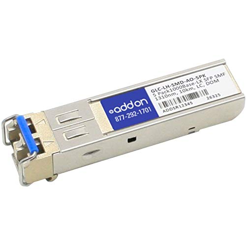 Add-On Computer Products AddOn 5-Pack of Cisco GLC-LH-SMD Compatible TAA Compliant 1000Base-Lx SFP Transceiver (Smf, 1310Nm, 10km, LC, DOM)