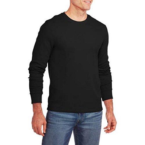 Faded Glory Men's Long Sleeve Waffle Thermal Crew Shirt / Top (XL, Black Soot)