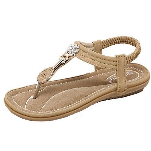 - NEEKEY Women Flat Sandal Summer Braided T-Strap Thong Sandals Ankle Buckle Shoes for Casual Beach Holiday