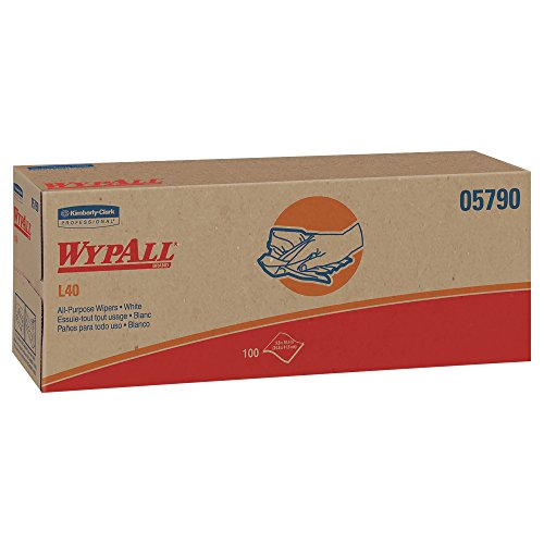 (WypAll L40 Disposable Cleaning and Drying Towels (05790), Limited Use Towels, White, 9 Pop Up Boxes per Case, 100 Sheets per Box, 900 Sheets Total)