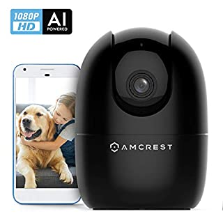 Amcrest 1080P Smart Home WiFi Camera, Baby Monitor, AI Human Detection, Motion-Tracking, Indoor Pet, Dog, Nanny Cam w/ 2-Way Audio, Phone App, Pan/Tilt Wireless IP Camera, Night Vision, ASH21-B Black